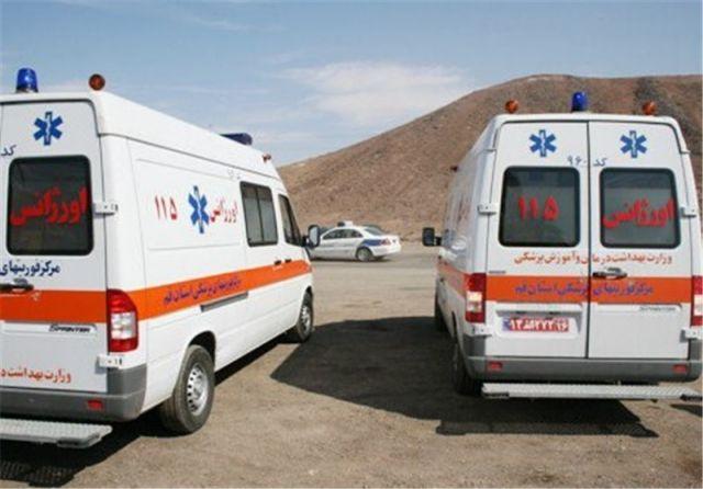 بروز حادثه برای آمبولانس اورژانس 115 قم/فوت راننده زانتیا در صحنه